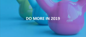 """kettlebells with """"do more in 2019"""" text"""