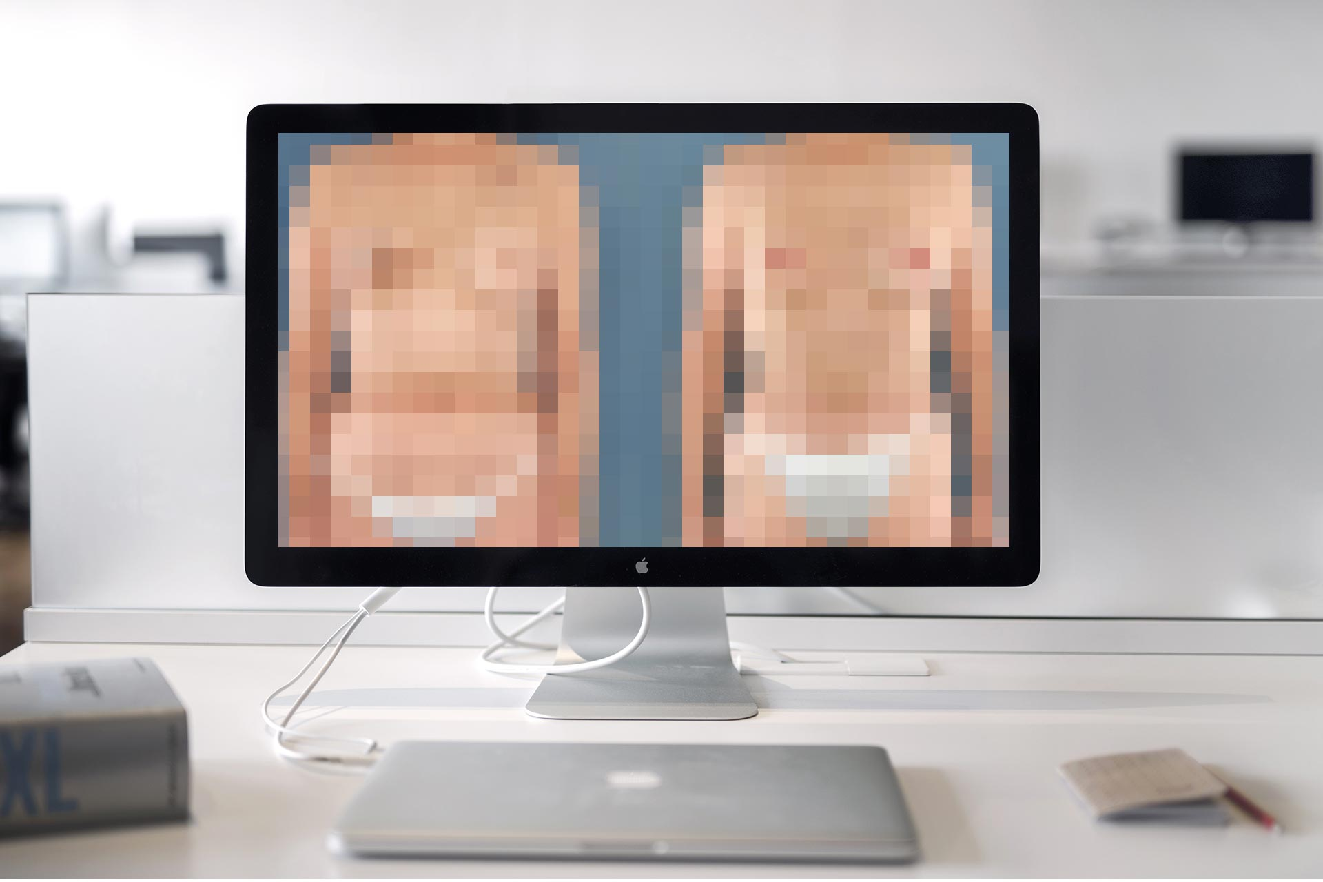 computer screen with pixilated bodies
