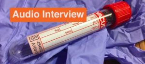 blood vial with audio interview tag